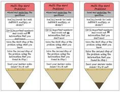 This is a fun bookmark to help students remember how to solve multi step word problems.