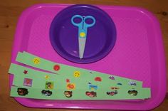 Fine Motor Cutting Tub: cut between stickers. Good way to use scrap paper & the tons of stickers I already have. Preschool Fine Motor Skills, Preschool Centers, Gross Motor Skills, Preschool Learning, Toddler Preschool, Early Learning, Fun Learning, Preschool Activities, Learning Shapes