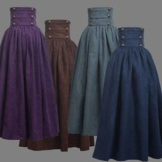 Details about Vintage Lady Victorian High Waist Ruffle Skirt Steampunk Walking Skirt 4 Colors - Outfits - Costume Steampunk Rock, Steampunk Costume, Steampunk Skirt, Steampunk Clothing, Steampunk Necklace, Renaissance Clothing, Renaissance Skirt, Steampunk Outfits, Casual Steampunk