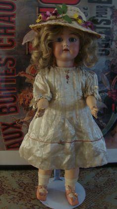 Antique German Doll Simon Halbig K R Bisque Head Factory Dress Compo Body   eBay