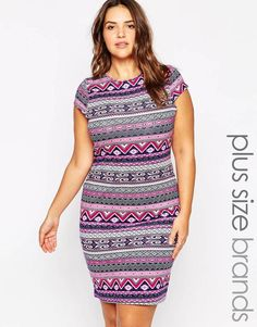Plus Size Mini Dress in Aztec