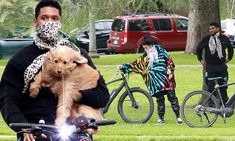 Usher carries his dog as he rides bicycle on outing with girlfriend in LA amid coronavirus lockdown Ride Along, Mail Online, Daily Mail, Girlfriends, Baby Strollers, Cycling, Arms, Bicycle, Dog