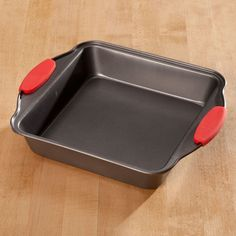 Square Cake Pan with Red Silicone Handles by Home-Style Kitchen™ - Zoom
