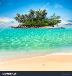 Tropical Beach Lagoon With Palm Trees. Thailand Tourism Panorama ...
