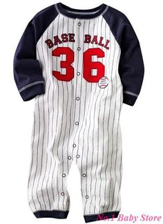 Jual jumper bayi First Movements Long Jumper - Baseball 36 Sport Fashion, Kids Fashion, Long Jumpers, Boy Outfits, Fashion Outfits, Striped Jumpsuit, Baby Store, Baby Winter, Long Sleeve Romper