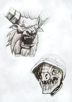 Couple of sketches from my sketchbook. Slark and Spiritbreaker Dota 2, Dota Tattoo, Arte Obscura, Drawing Practice, Detailed Image, Pencil Drawings, Game Art, Illustrators, Chibi