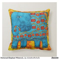 Shop Patterned Elephant Watercolour Illustration Throw Pillow created by JulieAnnNicholls. Watercolour Illustration, Watercolor Pattern, Custom Pillows, Decorative Throw Pillows, Elephant Throw Pillow, Safari Nursery, Elephant Gifts, Pattern Design, Bedroom Decor