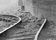 1952, Jul 21, a 7.7 earthquake destroyed the Kern County town of Tehachapi near Bakersfield, Ca, and killed 14 people.  Shown: earthquake damage at the east portal of Tunnel 3 on the Bakersfield line.