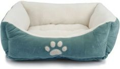 Brinkmann Pet Paw Print Pet Bed, 25-Inch, Blue with White
