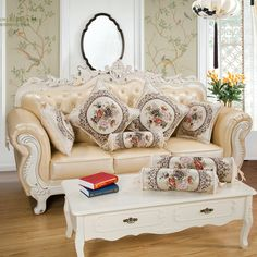 Home Decor Curcya Luxury Jacquard Floral Beige Sofa Cushion Cover European French Country Home Decor Pillow Case Square Rectangle Round Candles & Holders