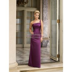 Purple long bridesmaid dresses   Line Asymmetric Shoulder Ruched Satin Long Purple Bridesmaid Dress