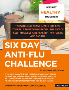 Join our FREE Anti-Flu Challenge for health tips and recipes that will help you stay stress free during this holiday season! From our nutritionists and specialists, to your inbox! Click to join or pin and save for later! via @viktoriyaandoks
