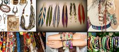 assortment of bohemian fashion beaded necklaces, bracelets and earrings, in many different styles and colors, macrame and chainlink, fabric and metal