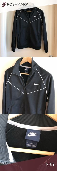 Nike Womens Track Jacket Large Excellent used condition! Nike track jacket, women's large, black. Snap this up before I keep it! And check out my closet for other sports and triathlon gear! Nike Jackets & Coats