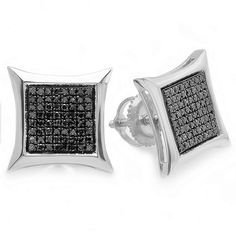 b455d7283 038 Carat ctw Sterling Silver Black Round Diamond Micro Pave Setting Kite  Shape Stud Earrings >