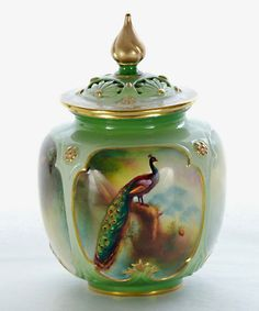 Antique Royal Worcester Peacock Painted Vase
