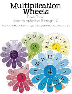 Multiplication Flower Wheels - Facts from 0 - 12 No need for boring flash cards, THESE ARE SO FUN! And they drill multiplication facts with ease. ENJOY!