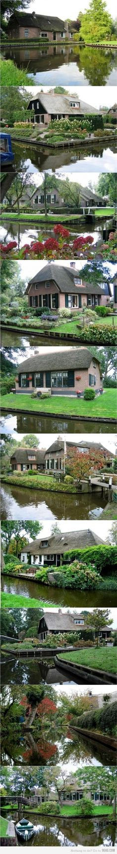 "Giethoorn, Holland.  Giethoorn, Holland.  There is no motor traffic -- all homes are connected by canals and they use ""whisper boats"" to travel these ""water ways.""  Venice of the North."