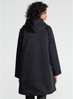 Knee-Length Hooded Coat in Reversible Cotton Nylon Sheen