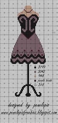 Penelopis' cross stitch freebies: dress/sukienka