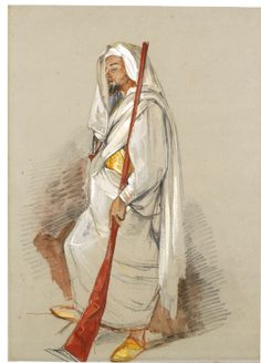 JOHN FREDERICK LEWIS, R.A. LONDON 1804 - 1876 WALTON-ON-THAMES STUDY OF A MAN WEARING NORTH AFRICAN DRESS Watercolour over pencil, heightened with bodycolour, on blue 'Steart' paper