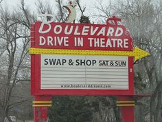 Boulevard Drive-In Theater, Kansas City KS  #2    		A long-time landmark on Merriam Lane. The Boulevard still operates in  the summer but is hanging on through a flea market business on the  side.