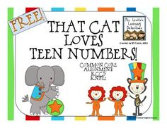 FREE That Cat Loves Teen Numbers - a write the room number game with recording sheet