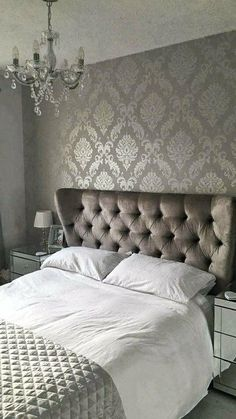 -Chelsea Glitter Damask Wallpaper Soft Grey Silver- HENDERSON INTERIORS Chelsea Glitter Damask Wallpaper Soft Grey, Silver The perfect way to create a luxurious feel throughout your home is with a stunning feature wall. Damask Bedroom, Glitter Bedroom, Bedroom Colors, Home Decor Bedroom, Silver Bedroom Decor, Bedroom Ideas, Wall Paper For Bedroom, Grey Bedroom Walls, Soft Grey Bedroom