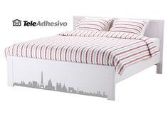 Vinilo skyline París para cama de Ikea #makea #ikea #paris #cama #decoracion #vinilo #ideas #TeleAdhesivo