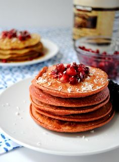 Healthy Apple Vanilla Greek Yogurt Pancakes- Super simple pancakes that can be mixed in your blender and simply poured onto the griddle.
