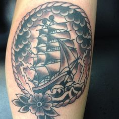 Ship tattoo by Nick Kelly. Signature Tattoo in Ferndale, MI. Big Brain Productions in Omaha, NE. Nick Kelly, Signature Tattoos, Nautical Tattoos, I Tattoo, Piercings, Brain, Black And Grey, Ship, Nautilus