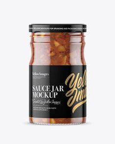 Clear Glass Jar with Bruschetta Sauce Mockup