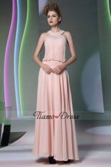 A-line Jewel Cut Out Simple Design Long Pink Dress For Sweet 16 Prom
