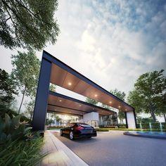 New Bungalow for sale at Aria @ Residensi SIGC, Seremban by Matrix Concepts Sdn Bhd. Main Gate Design, Entrance Design, Facade Design, Architecture Design, Entrance Gates, Main Entrance, Grand Entrance, Modern Entrance, Pergola Carport