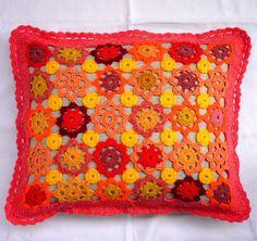 Kytičkový povlak na polštář (červený)