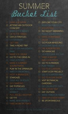 Bucket List: 50 things to do this summer.