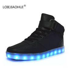 Venta caliente Luminoso LED cordones de Los Zapatos Para Adultos 2016 Del Otoño Del Resorte indumentaria Femenina hombres Alta ayuda Chaussure USB Led Light up zapatos(China (Mainland))