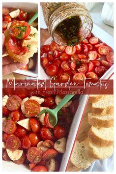 Tomato Garden, Garden Tomatoes, Healthy Salad Recipes, Superfood Recipes, Delicious Recipes, Vegetarian Recipes, Appetizer Recipes, Appetizers, Marinated Tomatoes