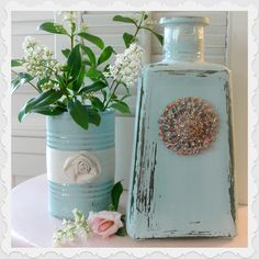 DIY-Tin Cans & Tequila Bottles Repurpose Tutorial: I guess I will have to find someone who drinks that stuff