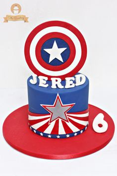 Captain America Cake and Cupcake Toppers - Cake by The Sweetery - by Diana