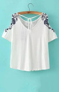 women off shoulder crop top shirt sexy blue white porcelain pattern blouses vintage short sleeve shirts casual slim tops DT338