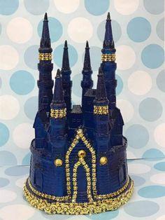 Baby Shower 1st Birthday Wedding Royal Blue Castle Cake Topper