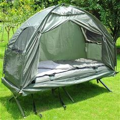 [USD $114.99]Compact Foldable Pop Up Tent Camping Cot with Air Mattress and Sleeping Bag Combo Perfect if you need a large tent while backpacking!