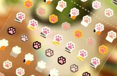 Tiny Cat Paw Stickers - perfect for planners, journals, calendars, scrapbooking - One Point Seal by PaperHaberdashery on Etsy