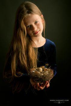 The girl with nest