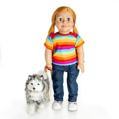 The Queen's Treasures Doll Pet Accessory - Husky Dog with Collar & Leash Husky Puppy, Collar And Leash, Doll Shoes, Doll Furniture, 18 Inch Doll, Doll Accessories, 6 Years, Pets, Pet Dogs
