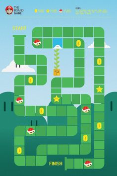 Dribbble - the_mario_boardgame.jpg by Andrew Sale Super Mario Bros, Super Mario Party, Super Mario Games, Super Mario Birthday, Mario Birthday Party, 21st Birthday Cards, Mario Games For Kids, Hama Beads Minecraft, Perler Beads