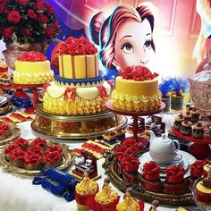 DECORAÇÃO FESTA A BELA E A FERA BEAUTY AND THE BEAST BIRTHDAY PARTY IDEAS.11