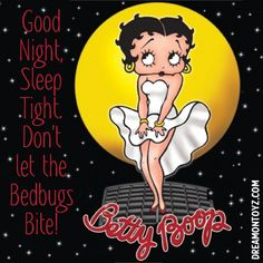 "Good Night, Sleep Tight. Don't let the Bedbugs bite. More Betty Boop graphics & greetings: ➡ http://bettybooppicturesarchive.blogspot.com/  ~And on Facebook~ ➡ https://www.facebook.com/bettybooppictures  ""Cool Breeze"" Marilyn Monroe style #BettyBoop posing in front of a full moon."