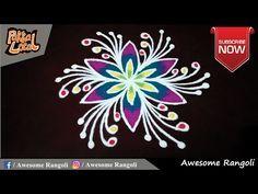 Simple Flowers kolam designs with 5-3 middle | chukkala muggulu with dots| rangoli design - YouTube